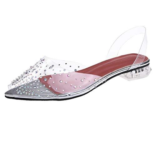 YWLINK Sandalias De Verano Zapatos De Punta para Mujer Talla Grande Zapatos Individuales Transparentes Zapatos Casuales Salvajes Simples Zapatos De Playa para Vacaciones