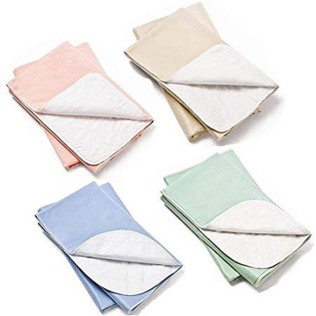 4 Pack Washable Bed Pads/Reusable Incontinence Underpads 18x24 - Blue,...