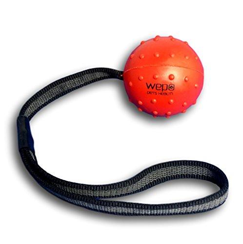 WEPO Hundespielzeug - Schleuderball mit Seil aus Naturkautschuk -für Welpen - Wurfballfür Hunde- Welpenspielzeug - Ball mit Seil/Schnur - Rot