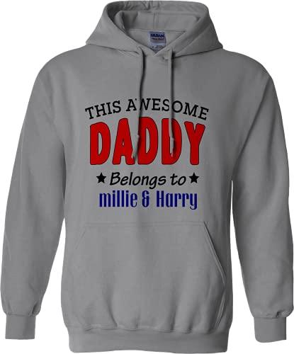 Sudadera con capucha personalizable para papá, día del padre, color gris jaspeado