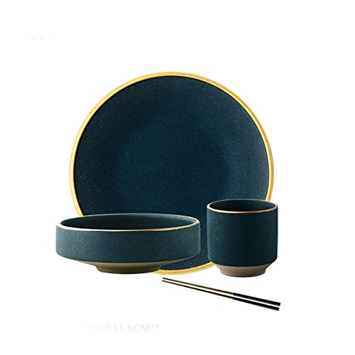 Platos Placa de cena redonda verde oscuro, tazón de sopa, taza, palillos, adecuado para postre de ensalada de bistec, vajilla de gres, conjunto de tazón de placa de 4 piezas. Vajilla ( Size : 2pack )