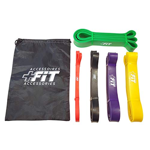 Resistance Bands - Set of 5-41' Fitness Loop Exercise Mobility Strength Resistance Bands for Crossfit Yoga Stretching Powerlifting Pilates Outdoor & Indoor Training by PLUS FIT Accessories