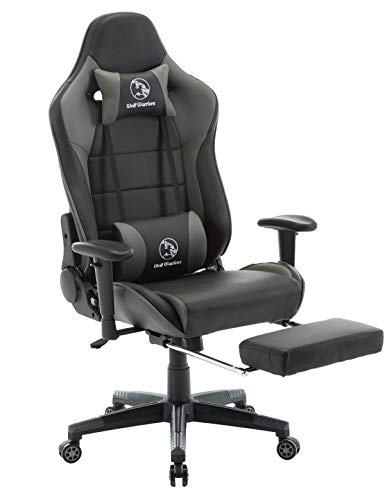 Gaming Chair Ergonomic Computer Game Chair Seat Height Adjustment Recliner Swivel Rocker E-Sports Office Chair with Headrest and Lumbar Pillow (Leather, Grey/Black with Footrest) chair footrest gaming