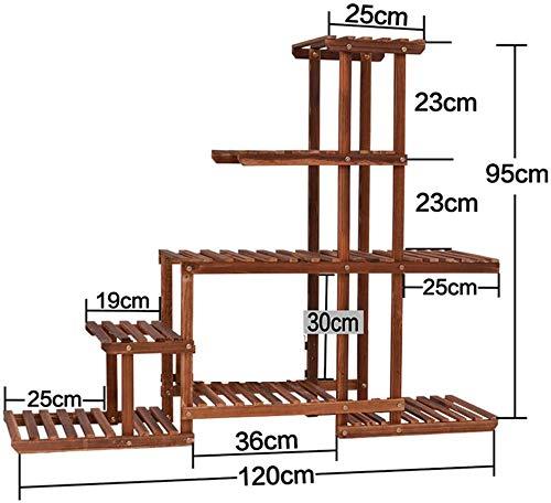 Wildlead Chin mehrschichtiges Holzschutzmittel Blume grüne Pflanze ebener Boden Wohnzimmer Balkon Blumentopf Rack Möbel Terrasse (Größe: B),A