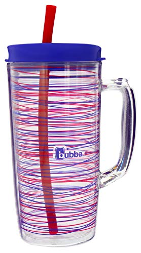 Bubba Envy Travel Thermal Mug, 48 Ounces - Double Wall Insulated with Straw - Keep All Your Favorite Cold Drinks at Your Side - Sweat Resistant, Ideal For Travel - Luau with Stripes Graphic