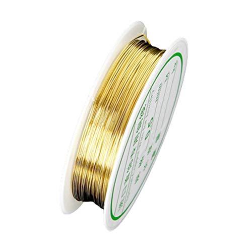 Alambre de cobre delgado de gallinero for joyas for hacer joyería Collar de pulsera Cuerda de cordones Procesamiento DIY CRAFT HANDICRAFT CORDOR DE CORDADOR ( Color : Oro , Talla : 0.6mm x 4.5meters )