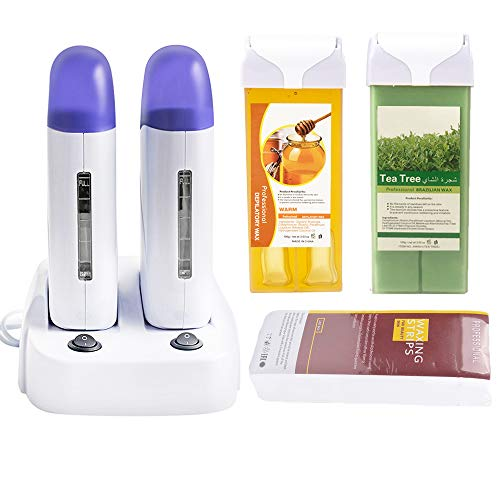 iMeshbean®Double Depilatory Roll on Wax Heater Roller Warmer Cartridge Strips Hair Removal Kit with ON/Off Switch (Honey & Tea Tree Wax & 100 Paper)