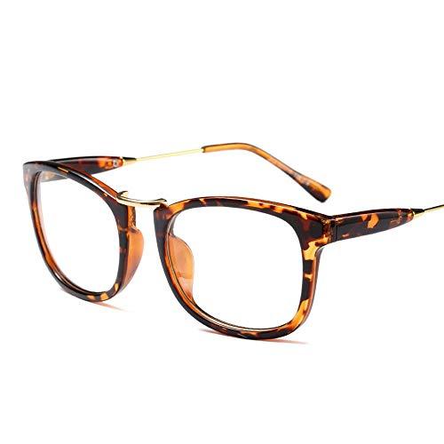 JKHOIUH Tendencia Caja de Metal Marco de vidrios Planos, Unisex, Moda Casual Básico Lente Transparente Ojos Gafas Marco de Vidrio Gafas Transparentes (Color : Leopard)