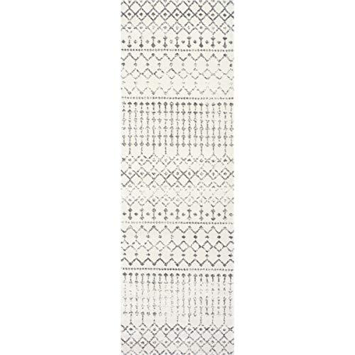 nuLOOM Moroccan Blythe Runner Rug, 2' x 6', Grey/Off-White