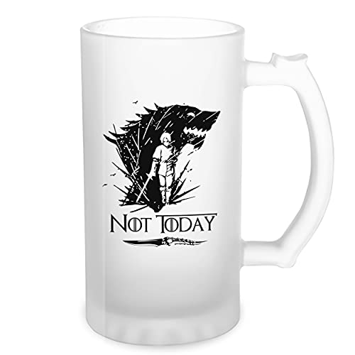 Not Today Arya Wolf Stark Catspaw Transparente taza de Stein de la cerveza 0.5L