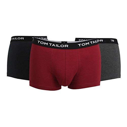TOM TAILOR Herren Hip Pants, Elastan, Baumwolle, Jersey, rot, Melange, 3er Pack S