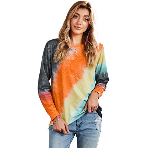 LUI SUI Damen Gradient Tie Dye Pullover Tops Casual Loose Color Block Freizeit Sweatshirt Langarm T-Shirt