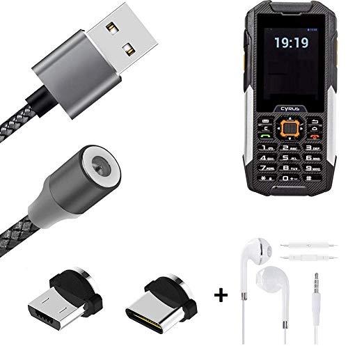 K-S-Trade® Hochwertiges Magnet-Lade-Kabel Sync-Kabel Daten-Kabel + Kopfhörer Für Cyrus cm 16 Mit USB-Typ-C-Anschluss Und Micro-USB-Anschluss 2A Bis Zu 480mbps