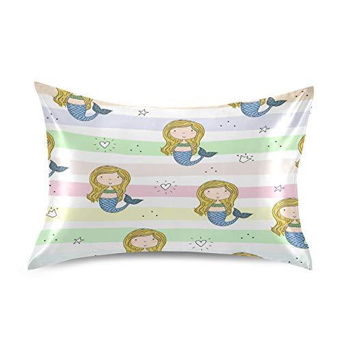 HaJie Funda de almohada de satén con diseño de estrellas de sirena, 100% poliéster, funda de almohada para cabello y piel, tamaño estándar 50,8 x 76,2 cm, 1 unidad