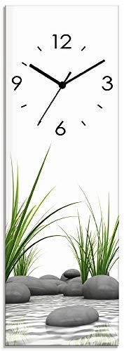 Artland Wanduhr ohne Tickgeräusche aus Glas Funkuhr 20x60 cm Rechteckig Lautlos Natur Design Zen Spa Steine Asiatisch Modern T6CD