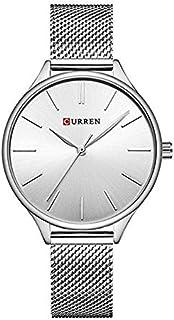 Curren 9024 Quartz Movement Round Dial Stainless Steel Strap Waterproof Women Wristwatch - Silver