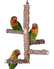 U-HOOME Bird Perch Nature Wood Stand Kintor Bird Playground for Small Medium Parrots Cage Accessories