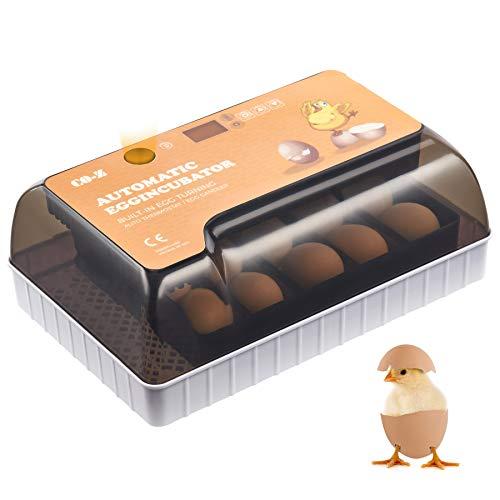 CO-Z Incubadora de Huevos Automática con Volteo Incubadora para 12 Huevos de Gallina con Control de Humedad y de Temperatura Máquina para Incubar Huevos de Gallinas, Patos y Más