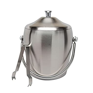 Elegant Stainless Steel Double Walled Ice Bucket Cocktail Set with Lid Tongs Set Bar Accessory Set 7.5 Inch Parties Kitchen Storage Party Supplies Accessories