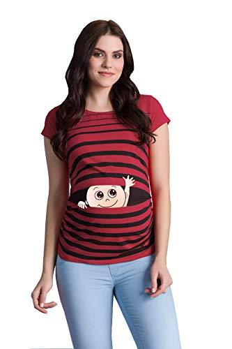 Winke Winke Baby - Lustige witzige süße Umstandsmode gestreiftes Umstandsshirt mit Motiv für die Schwangerschaft Schwangerschaftsshirt, Kurzarm (Weinrot, Medium)