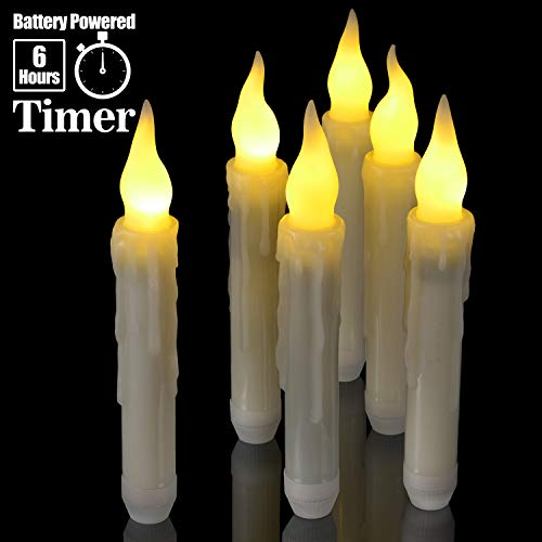 6pcs Flameless Taper Candles with Timer, PChero 6.7' LED Battery Operated Tapered Candlesticks with Warm Yellow Flickering Flame, Dripless Candles for Church Themed Party Home Decorations