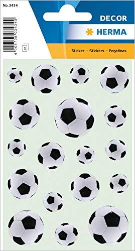HERMA 3434 Fußball Aufkleber aus Papier, schwarz/weiß, selbstklebende Sticker für Kinder zur Deko im Kinderzimmer, 54 Fußbälle