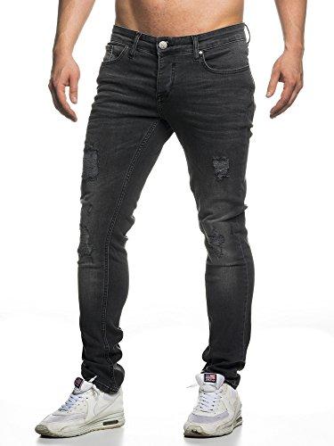 Elara Herren Jeans Destroyed Slim Fit Hose Denim Stretch Chunkyrayan 16525-Black-31W / 32L