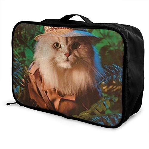 Leichte, großvolumige, tragbare Lage-Tasche Faltbare, wasserdichte Reisetasche zur Aufbewahrung am Wochenende für Frauen und Männer, Safari-Katze Süße, lustige Kätzchen Tierkunst
