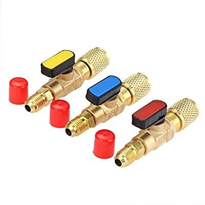 """SURIEEN 3 Colors R134A Straight Compact Shut-Off Ball Valve Adapter 1/4"""" SAE Thread Fits for HVAC A/C Refrigerant R134A R12 R22 R502 Charging Hoses Air Conditioning Refrigerant Tools - Set of 3"""