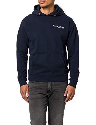 Scotch & Soda Fil-coupé-Shirt im Regular Fit mit Print Sweatshirt Capuche, 0002 Night, M Homme