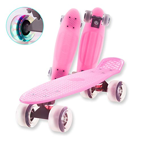 FGKING Mini Cruiser Skateboards for Beginners or Professional, Classic Highly Flexible Skating Board 22 Inch for Kids, Funny Cool Skateboards with LED Light Up Wheels,Pink