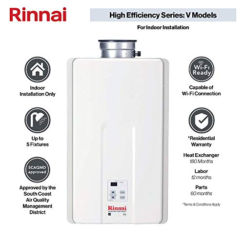 Rinnai V75iN High Efficiency Tankless Hot Water Heater, 7.5 GPM - Natural Gas: Indoor Installation