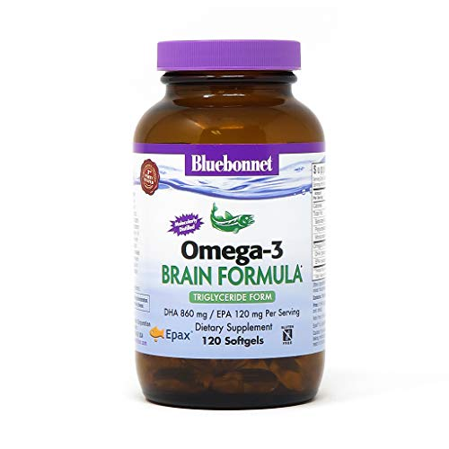 Bluebonnet Nutrition Omega-3 Brain Formula Natural Wild Caught Triglyceride Form DHA 860 mg EPA 120 mg - Highly Concentrated Cognitive Health & Wellness Support Supplement - Gluten-Free - 120 Softgels