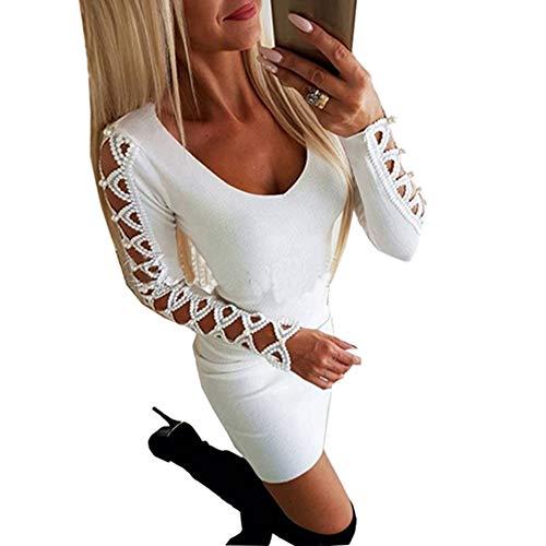 Dyyicun12 Vrouwen Sexy Slim Bodycon Jurk Effen Kleur Holle Lange Mouw Kralen Decor S Kleur: wit
