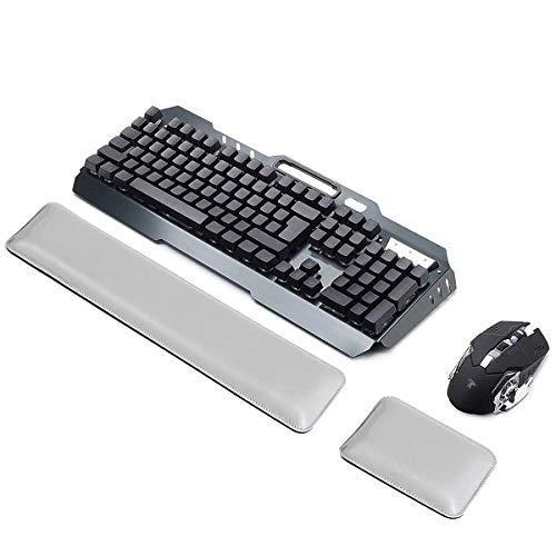 ASEOK Handgelenkauflage aus PU-Leder für Tastatur und Maus, ergonomisches Handgelenkkissen mit Memory-Gelschaum für Computer/Notebook/Laptop(weiß)