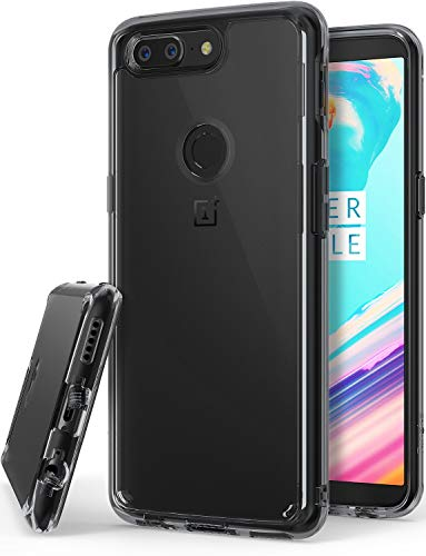 Ringke Fusion Compatible with Oneplus 5T Case Crystal Clear Minimalist Transparent PC Back TPU Bumper Drop Protection Scratch Resistant Natural Shape Protective Cover for Oneplus5T - Smoke Black
