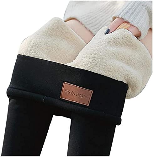 SKYWPOJU Invierno cálido Mujer Terciopelo Polainas elásticas Pantalones Forro Polar Grueso Medias (Color : Black, Size : XL)