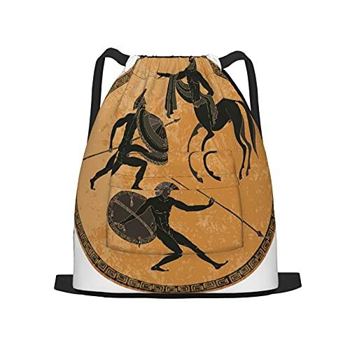 BohoMonos Mochila deportiva con cordón,Soldado Ánfora Mitología griega antigua Greci, Gym Sackpack para Hombres Mujeres Niños Yoga Travel Camping String Bag.
