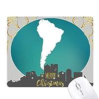 南アメリカ 大陸のシルエットの地図 クリスマスイブのゴムマウスパッド