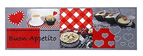 Deko Küchen Fussmatte Läufer Küchenläufer Antirutschmatte Schmutzfangmatte Küchenteppich Matte Teppiche Teppich Teppichläufer waschbar Cook & WASH Buon Appetito mit Muffin Cupcake - Herzen - grau rot