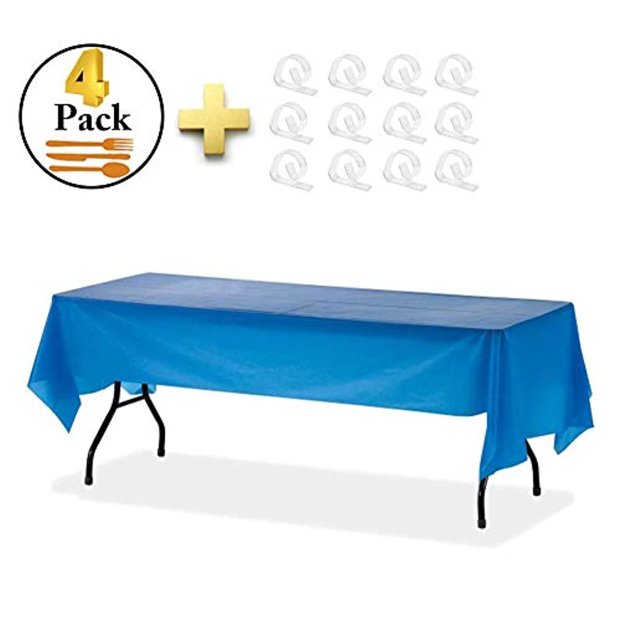 """ZSIIBO 4 Pack Disposable Tablecloth Party Plastic Tablecloth Waterproof Table Cover with Clips for Indoor or Outdoor Parties, Picnics (54 x 108"""",Dark Blue)"""