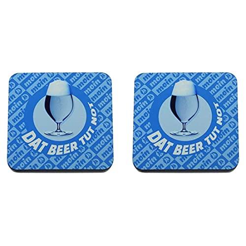 Fördeblau Moin Untersetzer für Glas/Tasse/Becher mit Spruch 'Bier tut Not' und Bierglas Bild   Quadratisch   Der Bierdeckel ist lustig plattdeutsch und maritim in Blau bedruckt.   2er-Set