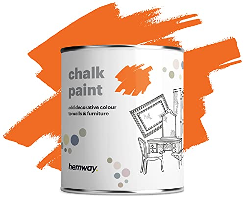Hemway Pintura de tiza naranja con acabado mate para pared y muebles, 1 l, 992 ml, estilo Shabby Chic Vintage Chalky (más de 50 colores disponibles)