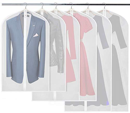 URMI Clothes Covers, Pack of 6 PEVA Dress Bags Covers, Breathable Garment Suit Clothes Covers Waterproof Transparent Dress Covers with Long Zipper(2 pcs 60 * 100cm&2 pcs 60 * 120cm&2 pcs 60 * 138cm)