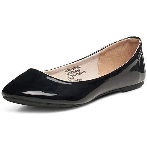 Alpine Swiss Womens Black Faux Patent Leather Pierina Ballet Flats 10 M US