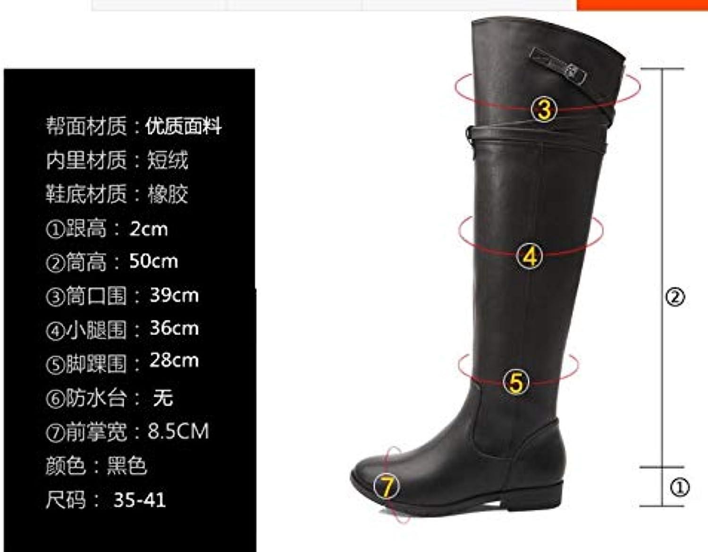 Shukun Stiefeletten Herbst und Winter Lange Stiefel weiblich über das Knie Stiefel flach mit Langen Stiefeln mit hohen Pu-Stiefel