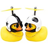wonuu Car Rubber Duck Cute Yellow Wind-Breaking Duck Dashboard Toy 2Pack Small Duck Ornaments Car Decorations with Propellers Glasses Gold Chain