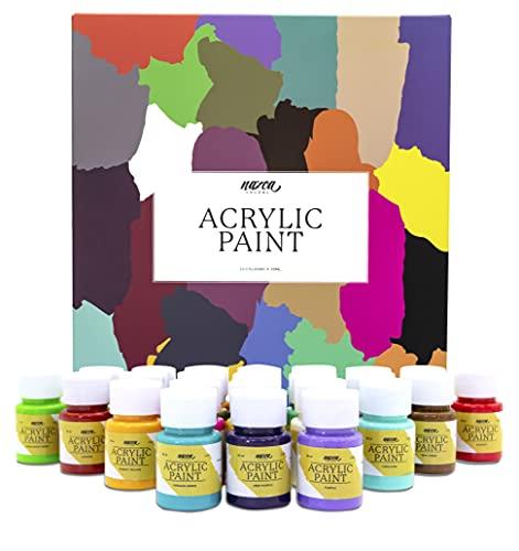 Set Pintura Acrílica para Pintar y realizar Manualidades Nazca Colors - 24 Colores x 30 ml - Kit de Acrílicos Ideal para Pintar Lienzos, Madera, Piedras, Plástico, Cerámica, Arcillas - No tóxicos