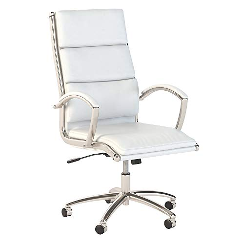Bush Business Furniture 400 Series High Back Leather Executive Office Chair in White