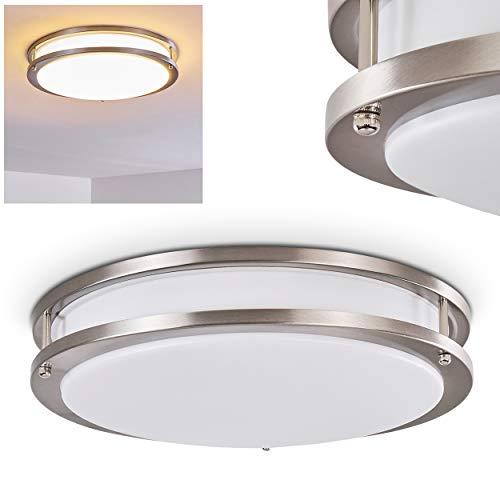 LED Deckenleuchte Sora, runde Deckenlampe aus Metall in Silber, 2-stöckig, 24 Watt, 1700 Lumen, Lichtfarbe 3000 Kelvin (warmweiß), IP 44, auch für das Badezimmer geeignet